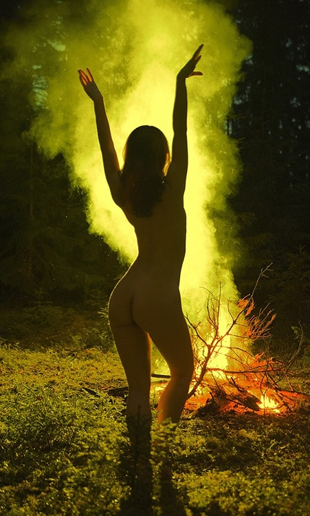 Nude girls at campfire